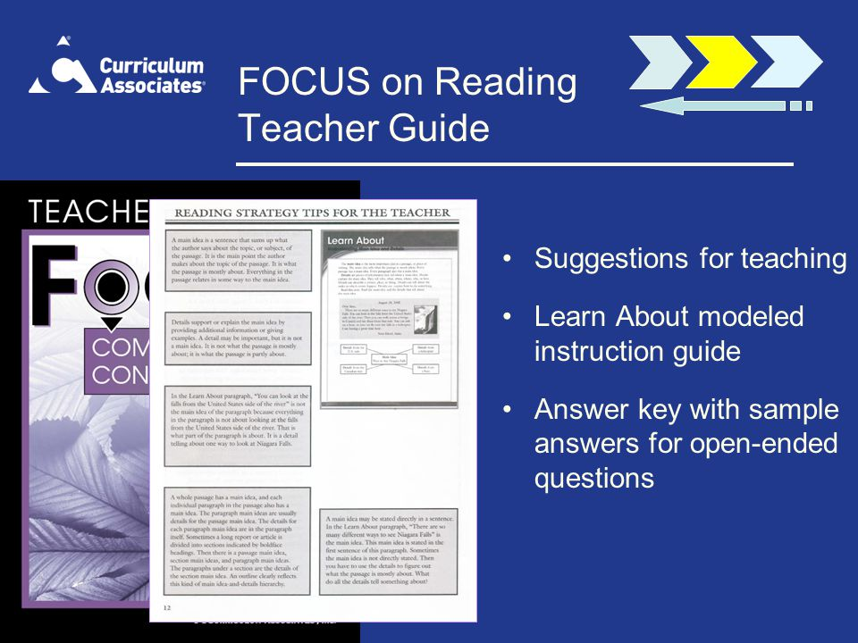 FOCUS on Reading Teacher Guide Suggestions for teaching Learn About modeled instruction guide Answer key with sample answers for open-ended questions