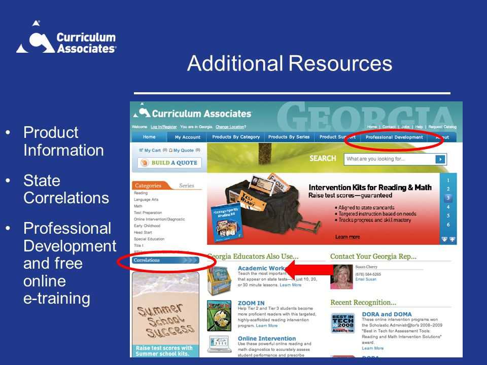 Additional Resources Product Information State Correlations Professional Development and free online e-training