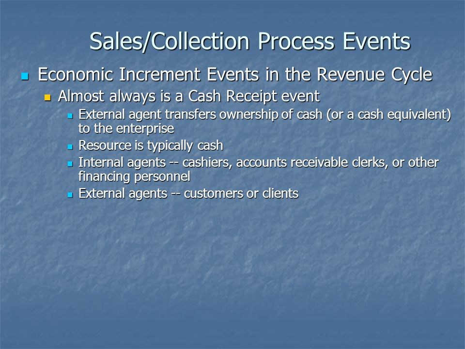 Sales/Collection Process Events Economic Decrement Reversal Events Economic Decrement Reversal Events Events in which previous economic decrement events are reversed or negated Events in which previous economic decrement events are reversed or negated Although similar in mechanics, such events are inherently different from economic increment events Although similar in mechanics, such events are inherently different from economic increment events Getting something back that you were happy you had given up (and for which you now have to give back the thing you were originally happy to get) is not the same as getting something you wanted to get in exchange for giving up something you were willing to give up Getting something back that you were happy you had given up (and for which you now have to give back the thing you were originally happy to get) is not the same as getting something you wanted to get in exchange for giving up something you were willing to give up Resources, Internal Agents, and External Agents are the same as those for economic decrement events Resources, Internal Agents, and External Agents are the same as those for economic decrement events