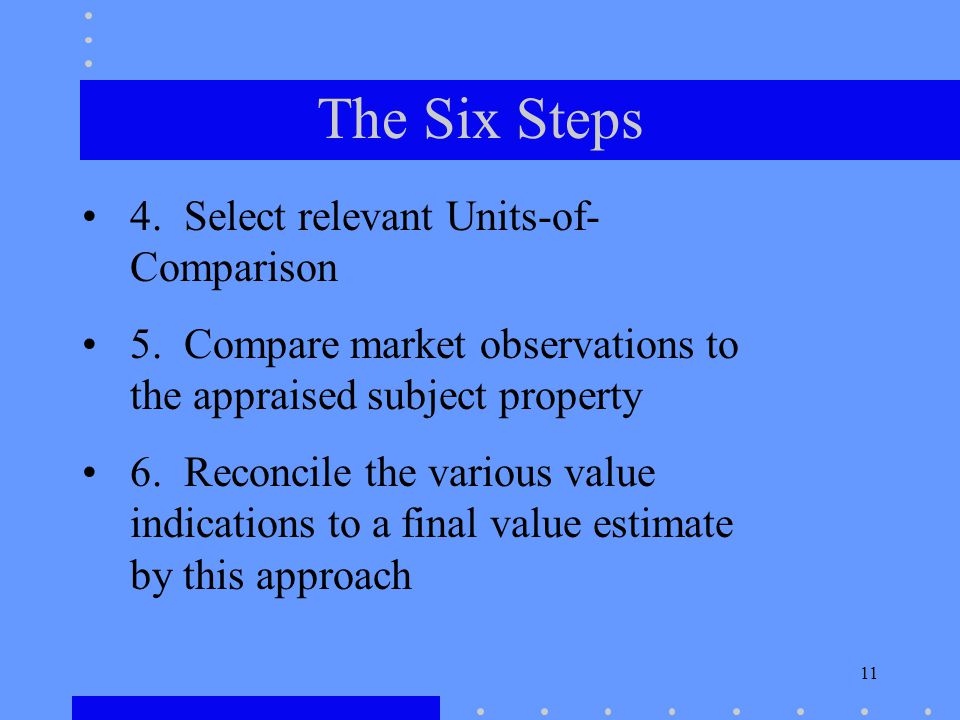 11 The Six Steps 4. Select relevant Units-of- Comparison 5.