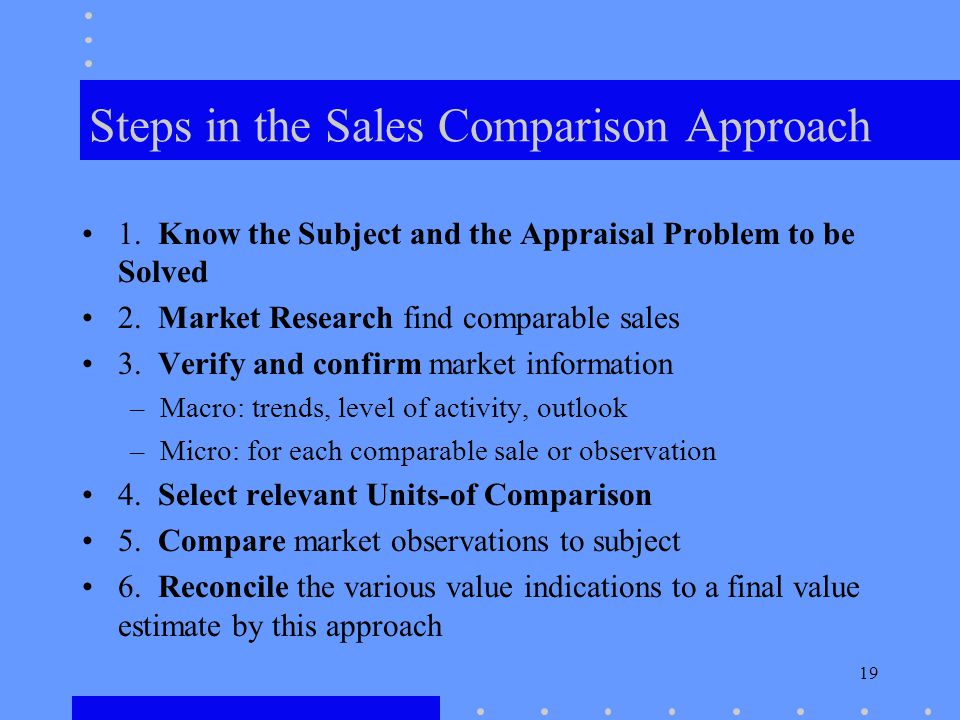 19 Steps in the Sales Comparison Approach 1.