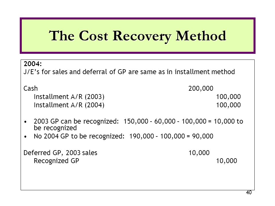40 2004: J/Es for sales and deferral of GP are same as in installment method Cash200,000 Installment A/R (2003)100,000 Installment A/R (2004)100,000 2