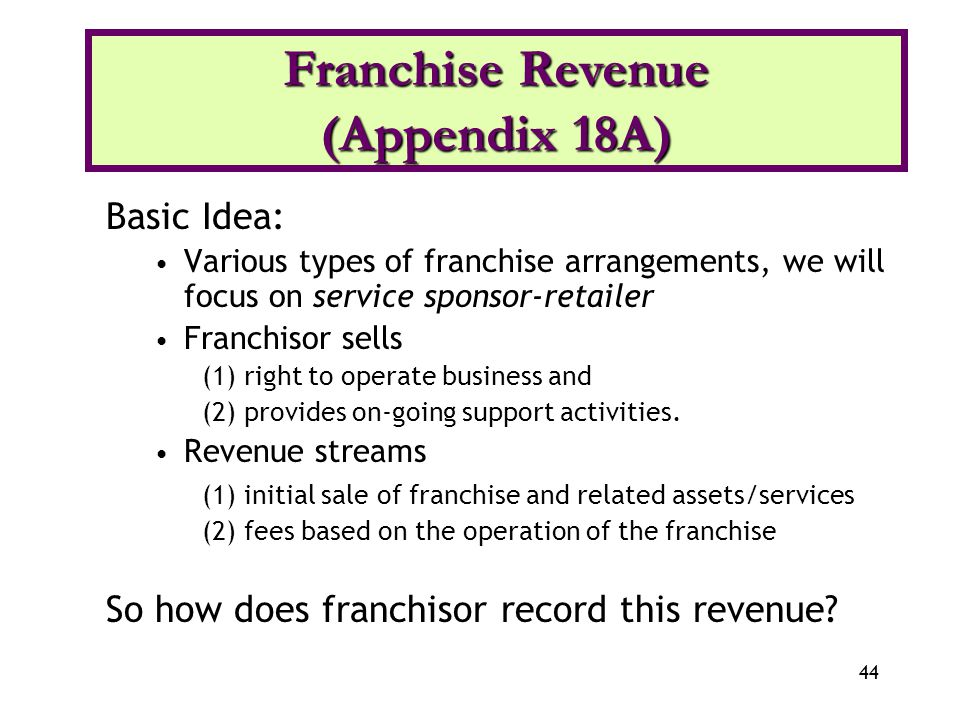 44 Basic Idea: Various types of franchise arrangements, we will focus on service sponsor-retailer Franchisor sells (1) right to operate business and (