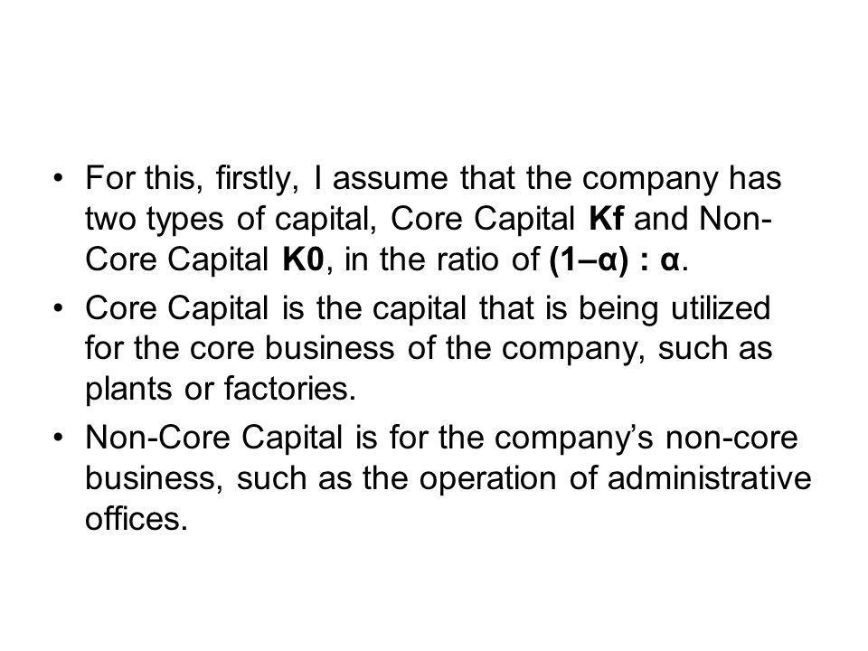 For this, firstly, I assume that the company has two types of capital, Core Capital Kf and Non- Core Capital K0, in the ratio of (1–α) : α. Core Capit