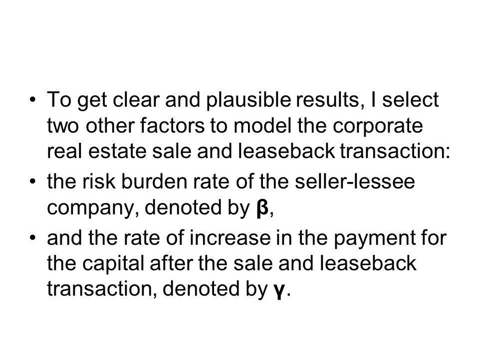 To get clear and plausible results, I select two other factors to model the corporate real estate sale and leaseback transaction: the risk burden rate