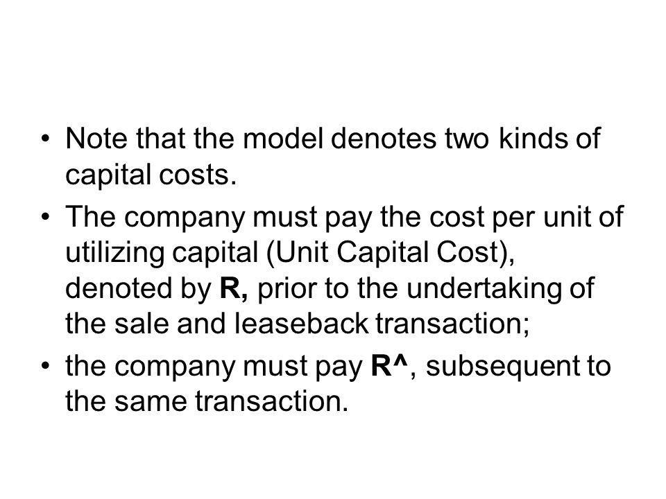 Note that the model denotes two kinds of capital costs.