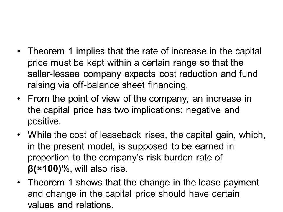 Theorem 1 implies that the rate of increase in the capital price must be kept within a certain range so that the seller-lessee company expects cost reduction and fund raising via off-balance sheet financing.
