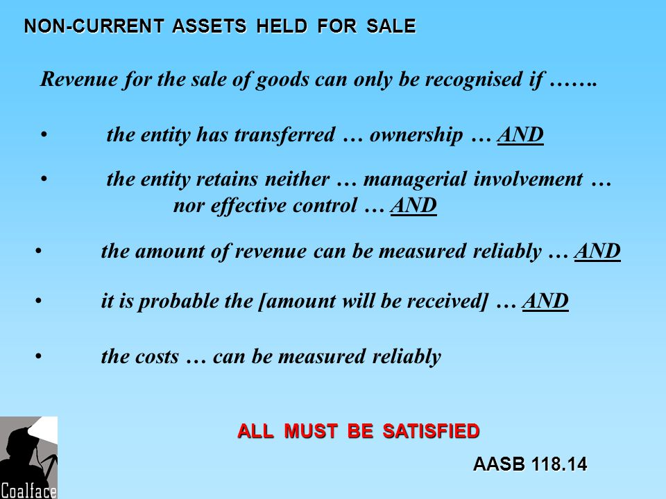 NON-CURRENT ASSETS HELD FOR SALE Revenue for the sale of goods can only be recognised if ……. the entity has transferred … ownership … AND the entity r