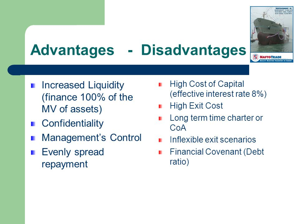 Advantages - Disadvantages Increased Liquidity (finance 100% of the MV of assets) Confidentiality Managements Control Evenly spread repayment High Cost of Capital (effective interest rate 8%) High Exit Cost Long term time charter or CoA Inflexible exit scenarios Financial Covenant (Debt ratio)