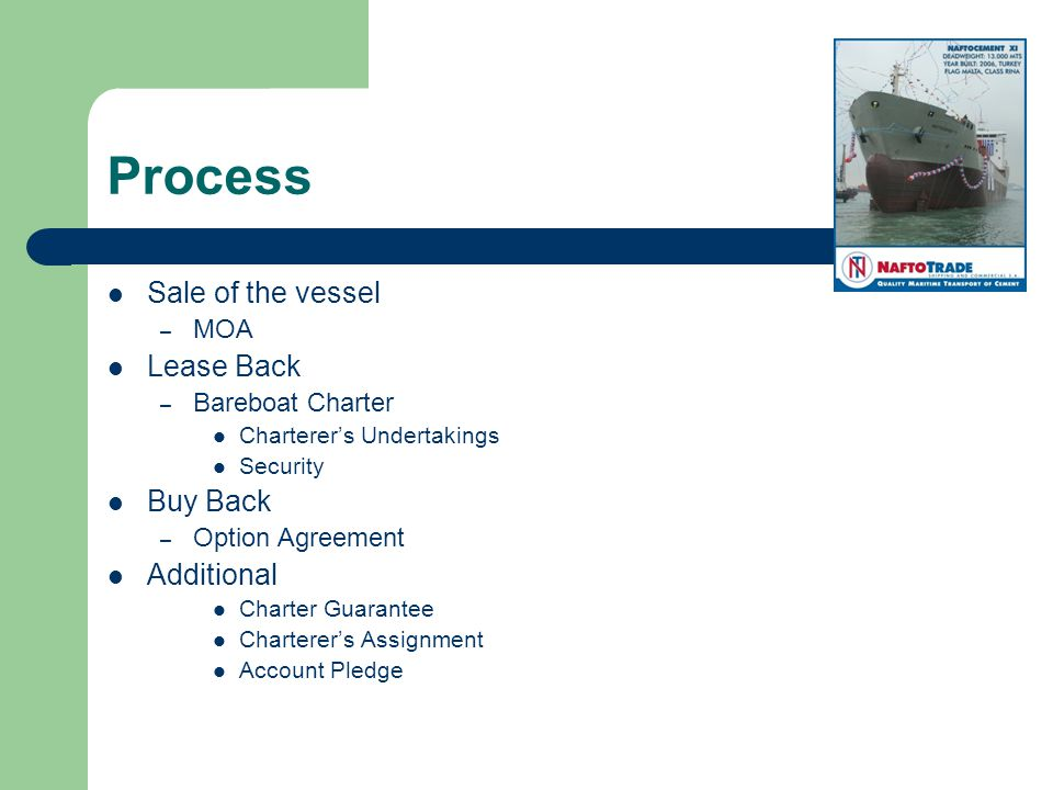 Process Sale of the vessel – MOA Lease Back – Bareboat Charter Charterers Undertakings Security Buy Back – Option Agreement Additional Charter Guarantee Charterers Assignment Account Pledge