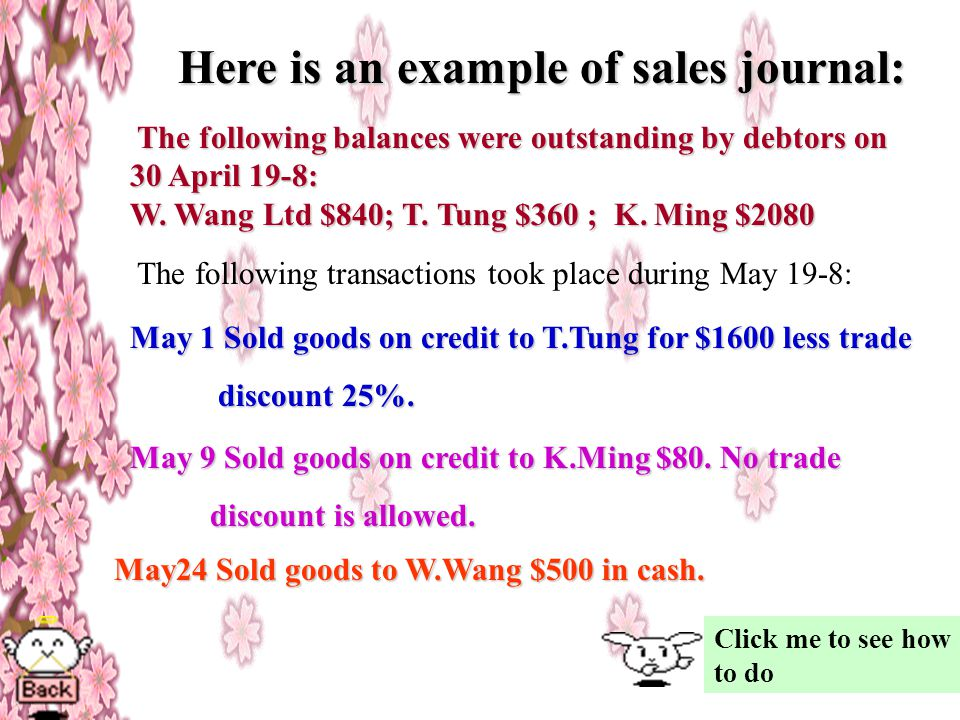 Here is an example of sales journal: The following balances were outstanding by debtors on 30 April 19-8: W.