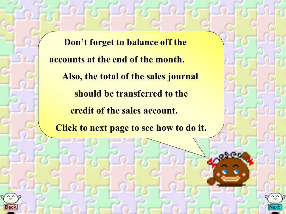 Dont forget to balance off the accounts at the end of the month.