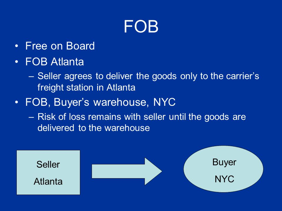 FOB Free on Board FOB Atlanta –Seller agrees to deliver the goods only to the carriers freight station in Atlanta FOB, Buyers warehouse, NYC –Risk of