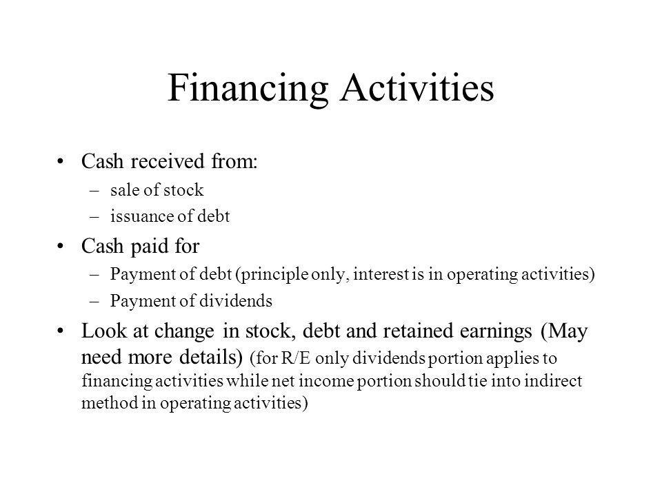 Financing Activities Cash received from: –sale of stock –issuance of debt Cash paid for –Payment of debt (principle only, interest is in operating activities) –Payment of dividends Look at change in stock, debt and retained earnings (May need more details) (for R/E only dividends portion applies to financing activities while net income portion should tie into indirect method in operating activities)