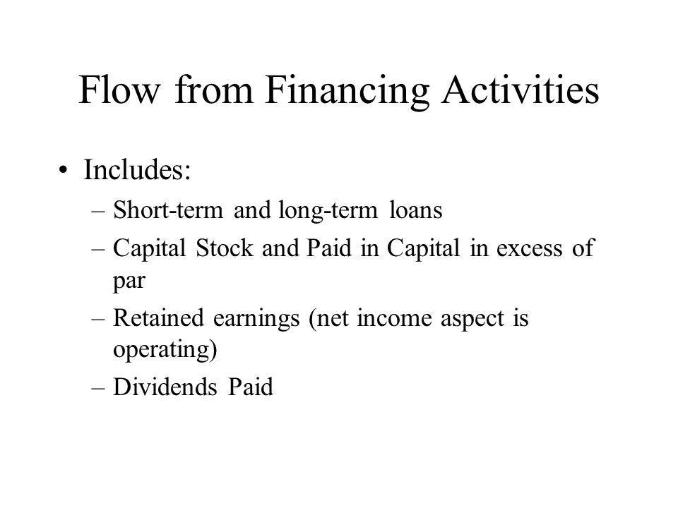 Flow from Financing Activities Includes: –Short-term and long-term loans –Capital Stock and Paid in Capital in excess of par –Retained earnings (net i