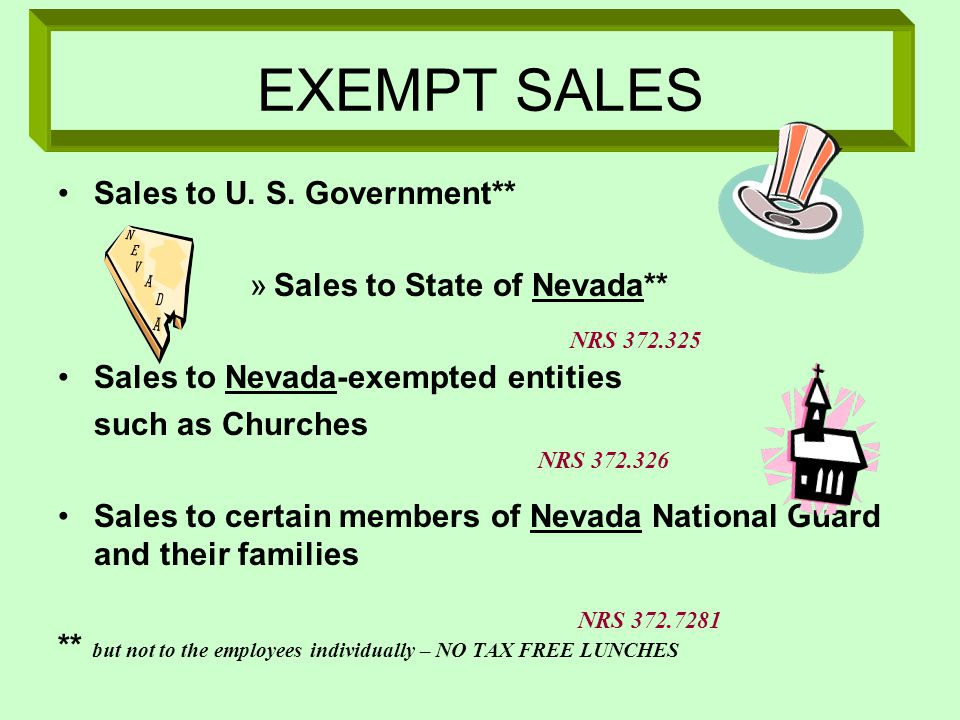 EXEMPT SALES Sales to U.S.