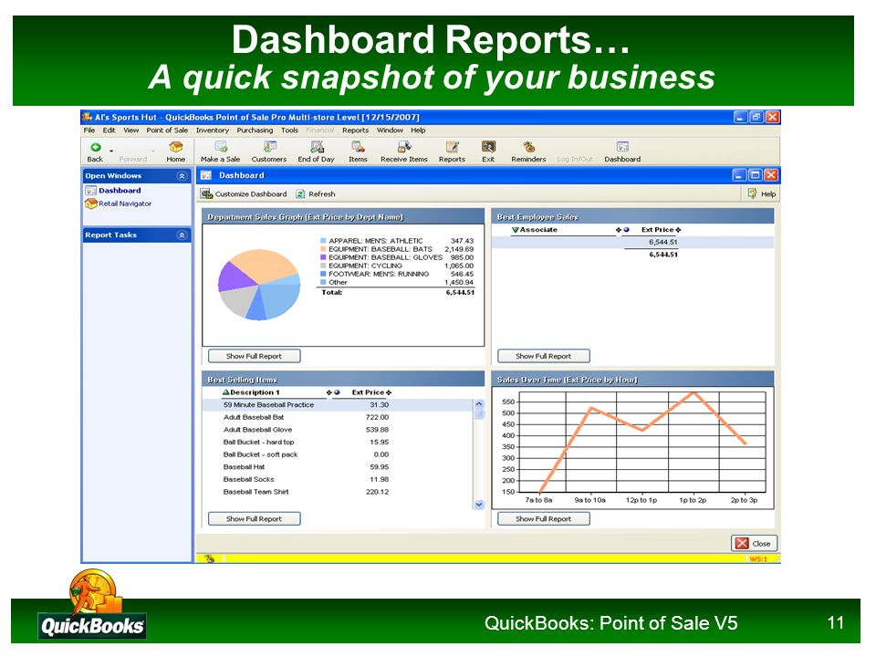 QuickBooks: Point of Sale V5 11 Dashboard Reports… A quick snapshot of your business