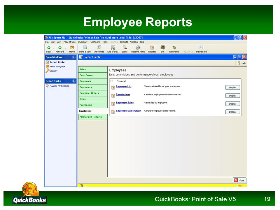QuickBooks: Point of Sale V5 19 Employee Reports