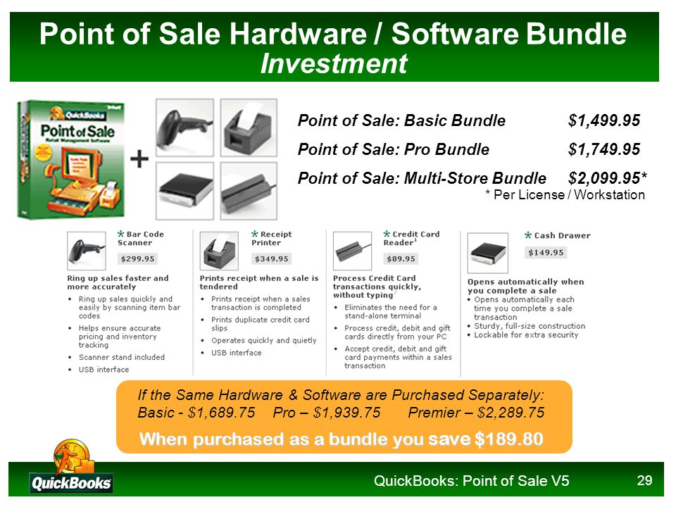 QuickBooks: Point of Sale V5 29 Point of Sale Hardware / Software Bundle Investment Point of Sale: Basic Bundle$1,499.95 Point of Sale: Pro Bundle$1,749.95 Point of Sale: Multi-Store Bundle$2,099.95* If the Same Hardware & Software are Purchased Separately: Basic - $1,689.75Pro – $1,939.75Premier – $2,289.75 When purchased as a bundle you save $189.80 * Per License / Workstation