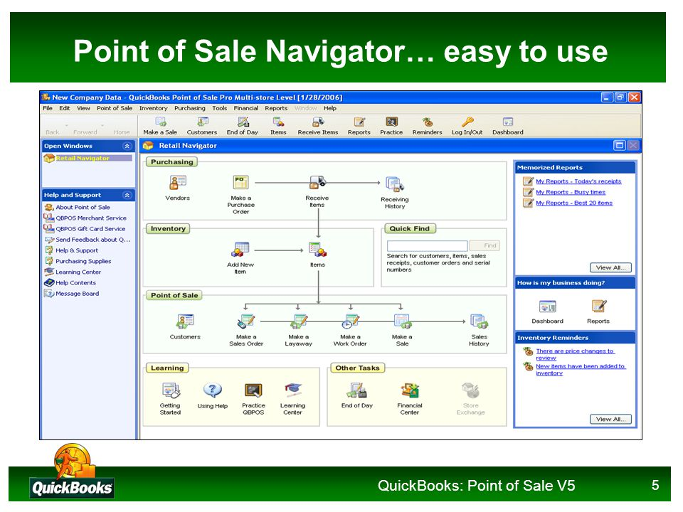 QuickBooks: Point of Sale V5 5 Point of Sale Navigator… easy to use