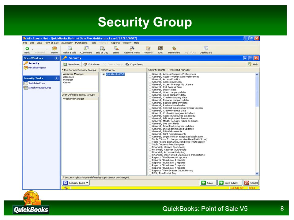 QuickBooks: Point of Sale V5 8 Security Group