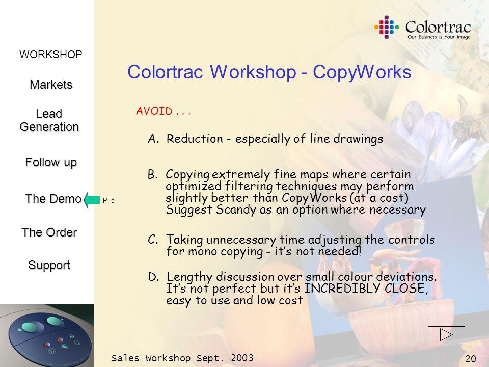 WORKSHOP Markets LeadGeneration The Demo Support Follow up The Order Sales Workshop Sept. 2003 20 Colortrac Workshop - CopyWorks A. Reduction - especi
