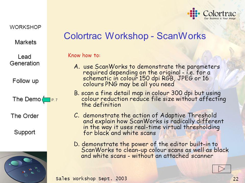 WORKSHOP Markets LeadGeneration The Demo Support Follow up The Order Sales Workshop Sept. 2003 22 Colortrac Workshop - ScanWorks P. 7 A. use ScanWorks