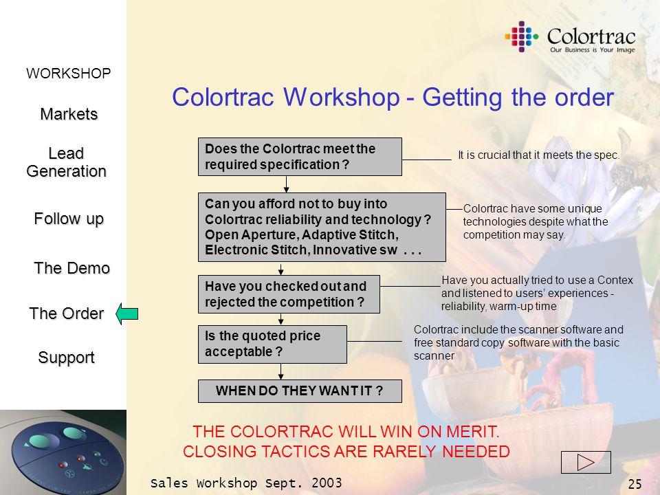 WORKSHOP Markets LeadGeneration The Demo Support Follow up The Order Sales Workshop Sept. 2003 25 Colortrac Workshop - Getting the order Does the Colo