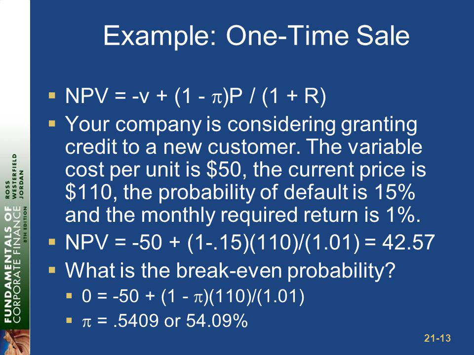 21-13 Example: One-Time Sale NPV = -v + (1 - )P / (1 + R) Your company is considering granting credit to a new customer. The variable cost per unit is