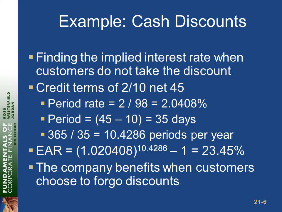 21-6 Example: Cash Discounts Finding the implied interest rate when customers do not take the discount Credit terms of 2/10 net 45 Period rate = 2 / 9