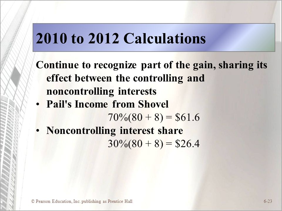 © Pearson Education, Inc. publishing as Prentice Hall6-23 2010 to 2012 Calculations Continue to recognize part of the gain, sharing its effect between