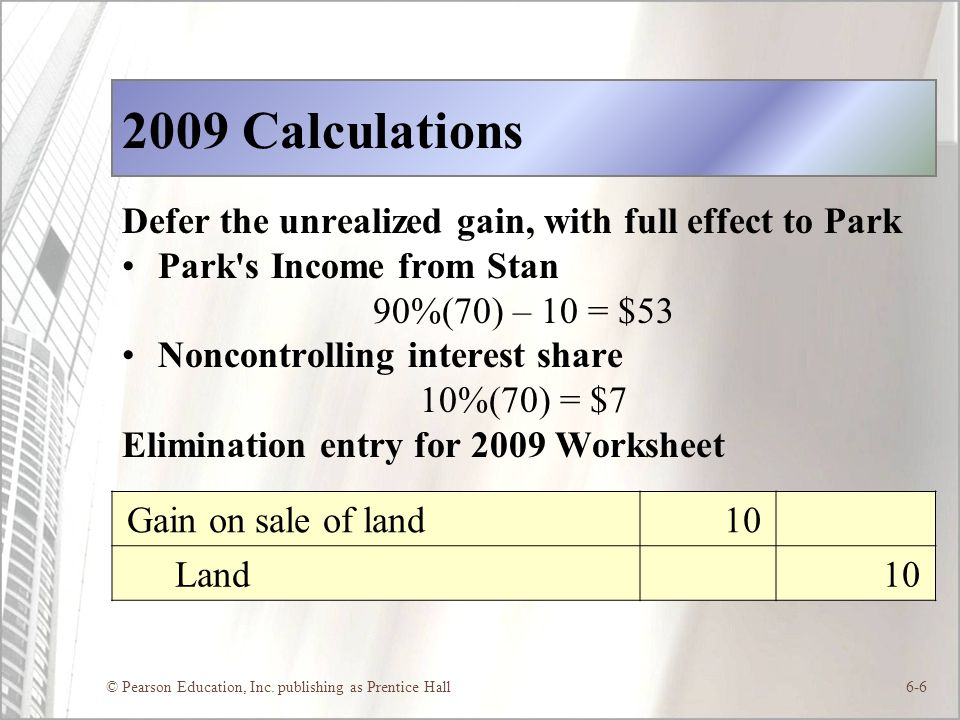 © Pearson Education, Inc. publishing as Prentice Hall6-6 2009 Calculations Defer the unrealized gain, with full effect to Park Park's Income from Stan