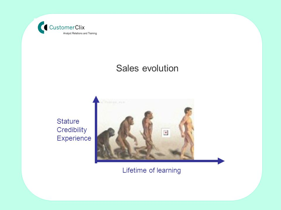 Making the sale: Techniques for non-sales people by Tom Crosby FISMM Sales evolution Stature Credibility Experience Lifetime of learning