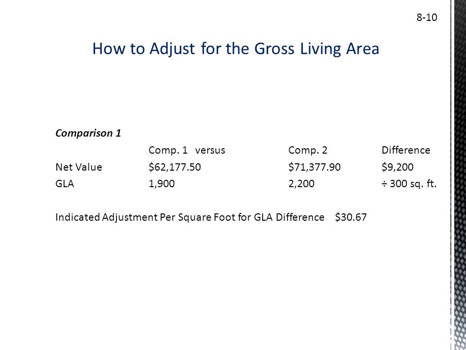 How to Adjust for the Gross Living Area 8-10 Comparison 1 Comp. 1versusComp. 2Difference Net Value$62,177.50$71,377.90$9,200 GLA1,9002,200÷ 300 sq. ft