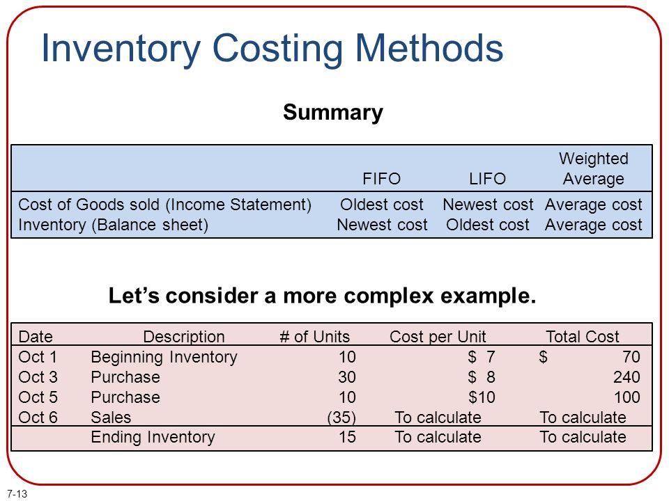 7-13 Inventory Costing Methods Summary Cost of Goods sold (Income Statement) Inventory (Balance sheet) FIFO Oldest cost Newest cost LIFO Newest cost O