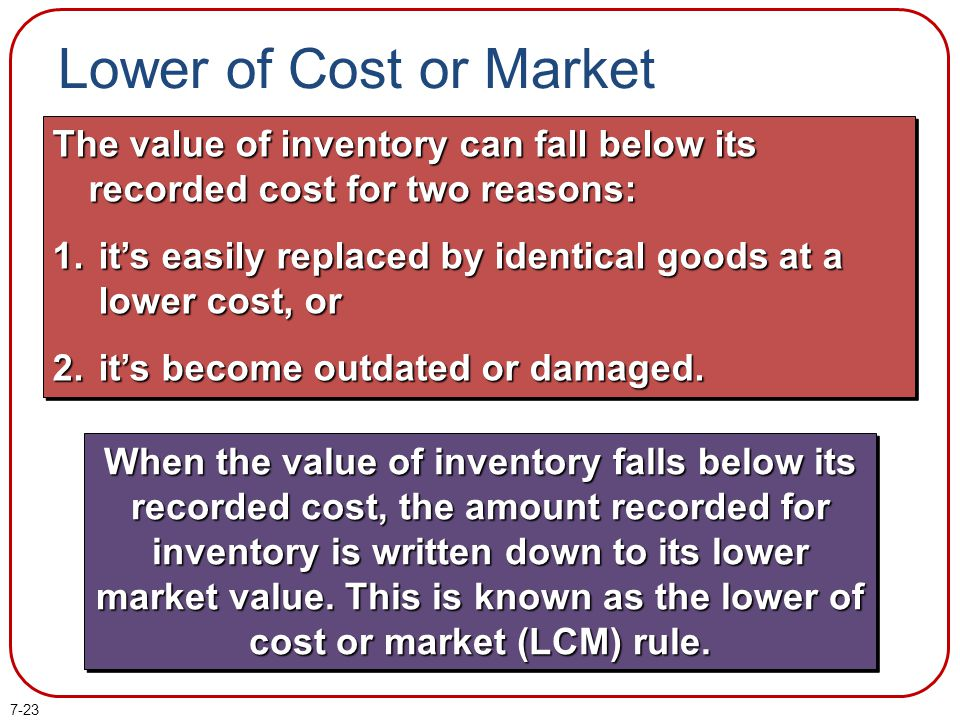 7-23 The value of inventory can fall below its recorded cost for two reasons: 1. its easily replaced by identical goods at a lower cost, or 2. its bec