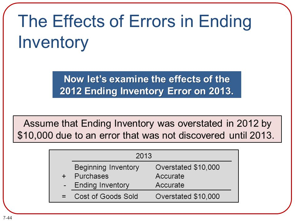 7-44 The Effects of Errors in Ending Inventory Now lets examine the effects of the 2012 Ending Inventory Error on 2013. Assume that Ending Inventory w