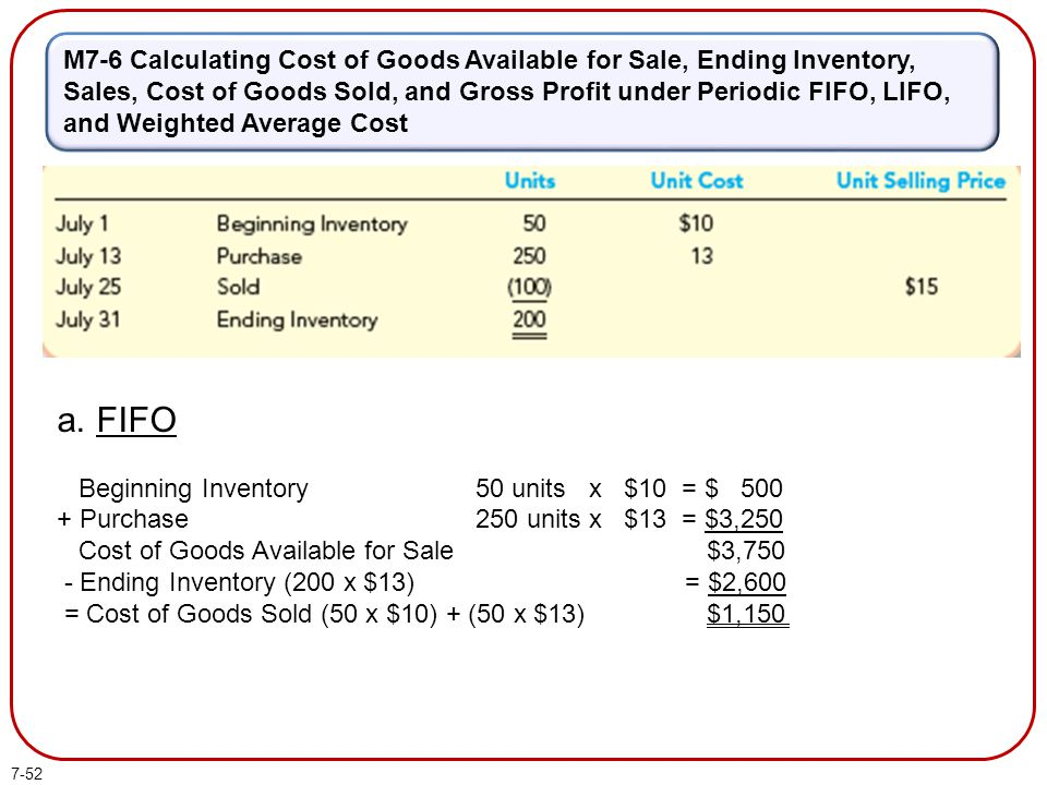 7-52 M7-6 Calculating Cost of Goods Available for Sale, Ending Inventory, Sales, Cost of Goods Sold, and Gross Profit under Periodic FIFO, LIFO, and W