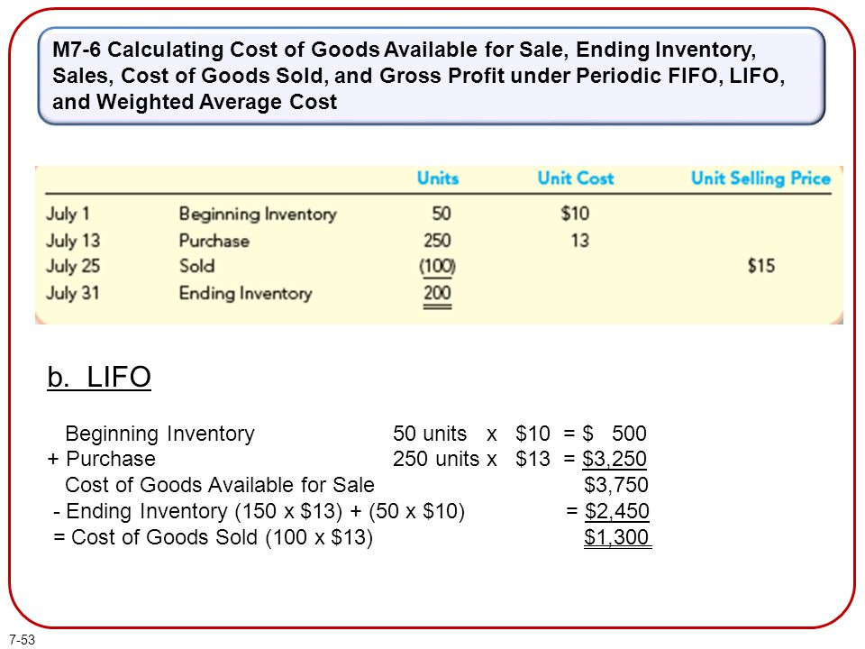 7-53 M7-6 Calculating Cost of Goods Available for Sale, Ending Inventory, Sales, Cost of Goods Sold, and Gross Profit under Periodic FIFO, LIFO, and W