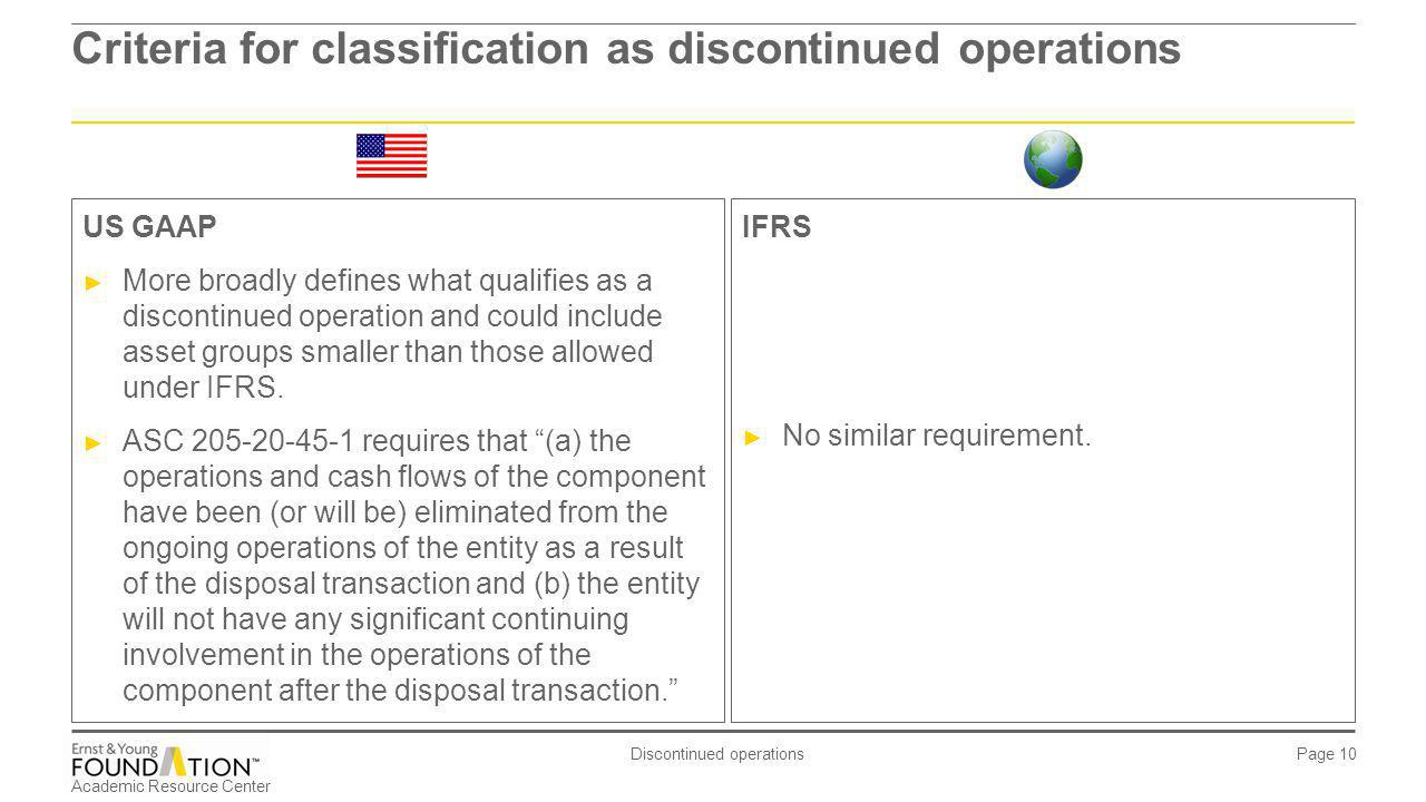Academic Resource Center Discontinued operations Page 10 Criteria for classification as discontinued operations IFRS No similar requirement. US GAAP M