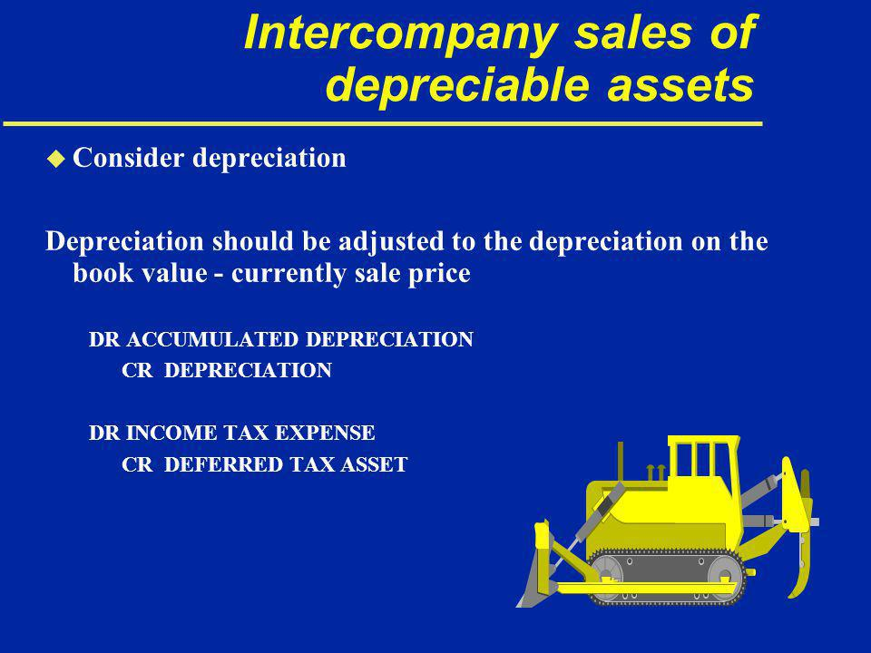 Intercompany sales of depreciable assets u Consider depreciation Depreciation should be adjusted to the depreciation on the book value - currently sale price DR ACCUMULATED DEPRECIATION CR DEPRECIATION DR INCOME TAX EXPENSE CR DEFERRED TAX ASSET