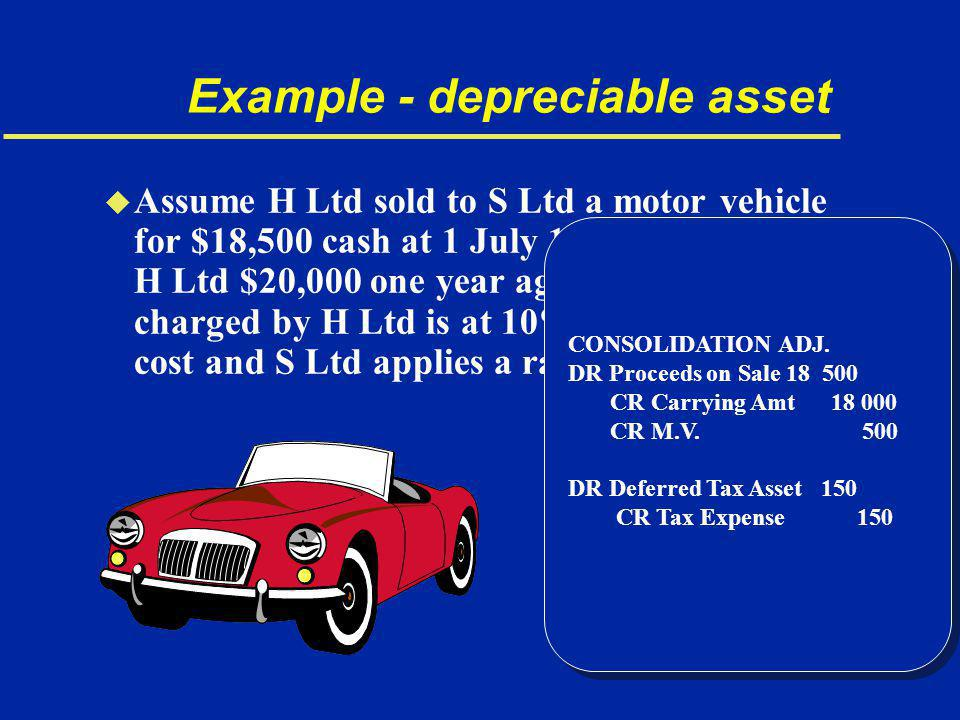 Example - depreciable asset u Assume H Ltd sold to S Ltd a motor vehicle for $18,500 cash at 1 July 19x0.