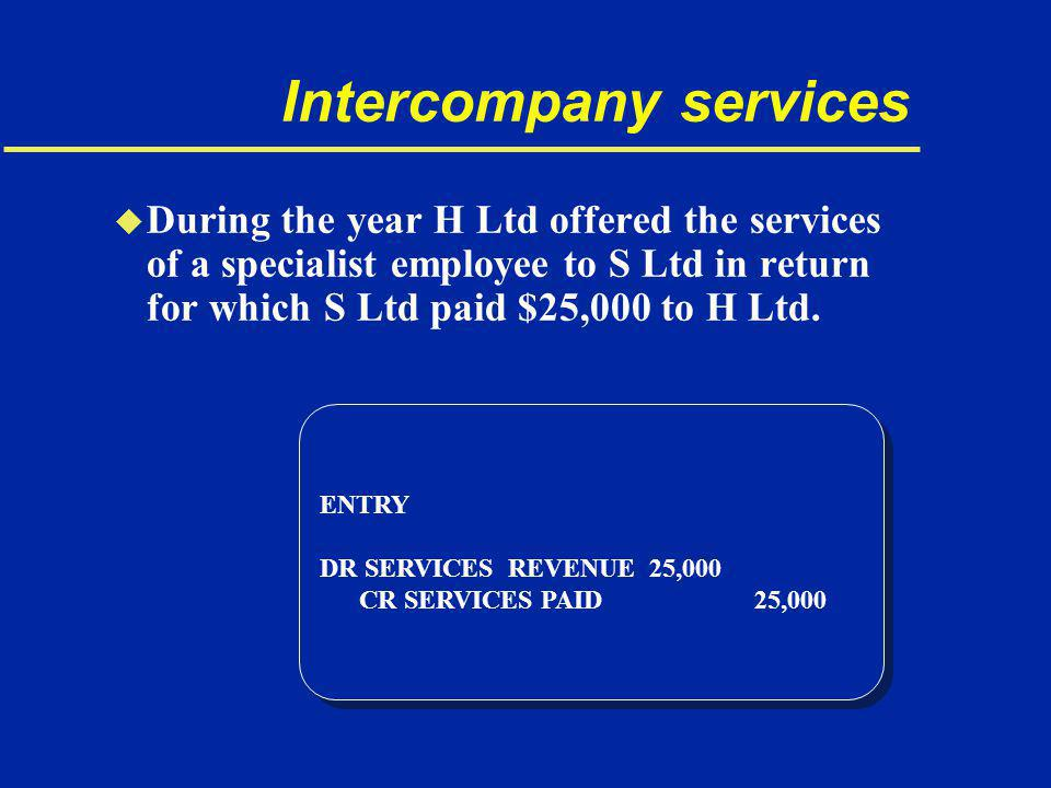 Intercompany services u During the year H Ltd offered the services of a specialist employee to S Ltd in return for which S Ltd paid $25,000 to H Ltd.