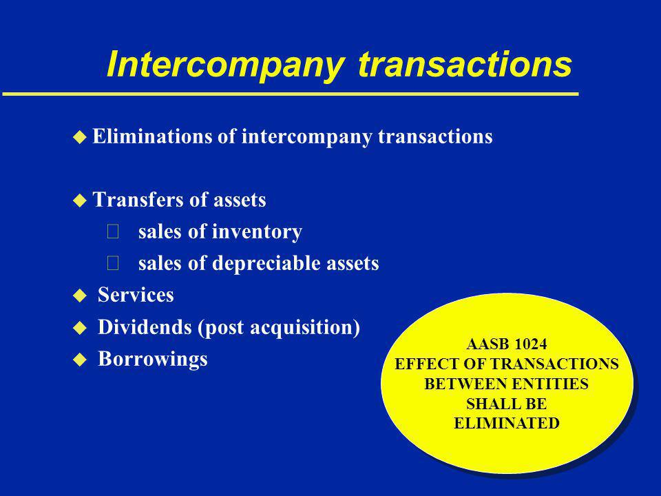 Intercompany transactions u Eliminations of intercompany transactions u Transfers of assets € sales of inventory € sales of depreciable assets u Services u Dividends (post acquisition) u Borrowings AASB 1024 EFFECT OF TRANSACTIONS BETWEEN ENTITIES SHALL BE ELIMINATED AASB 1024 EFFECT OF TRANSACTIONS BETWEEN ENTITIES SHALL BE ELIMINATED