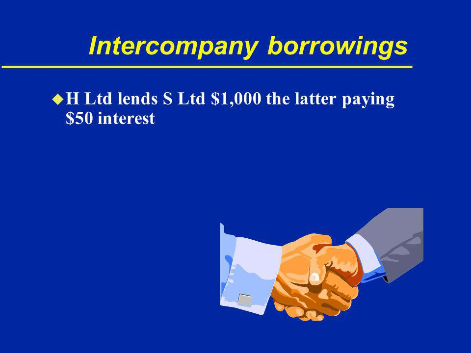 Intercompany borrowings u H Ltd lends S Ltd $1,000 the latter paying $50 interest