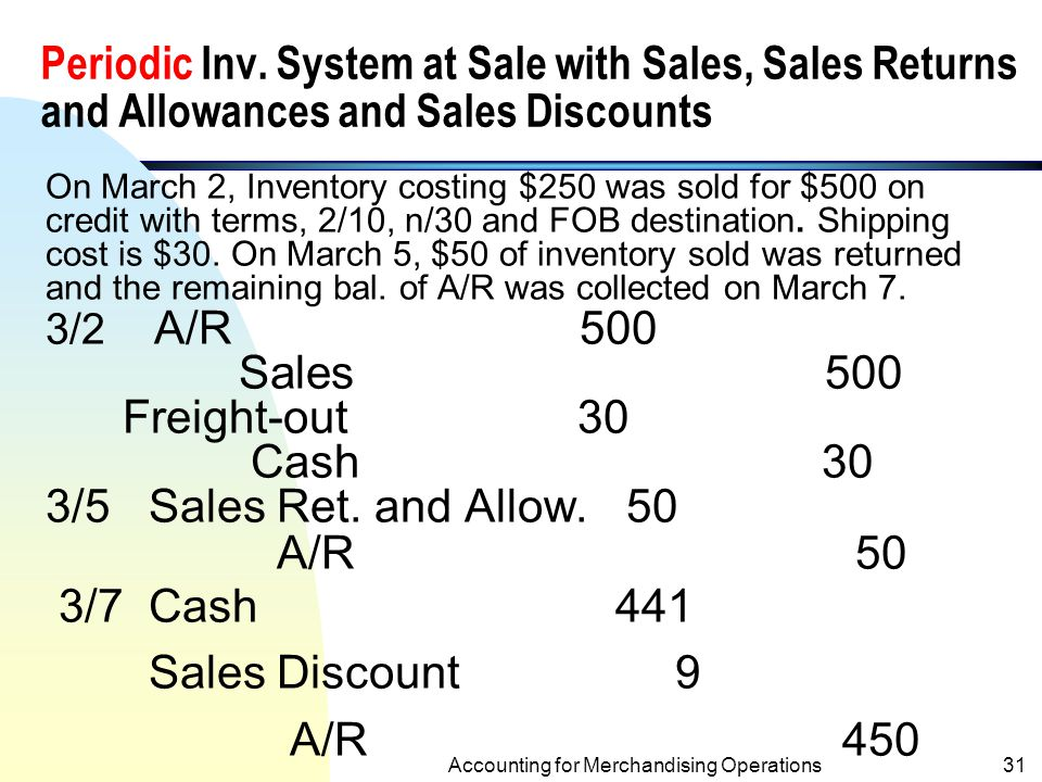 Net Purchases of a Periodic Inventory System Net purchases = Purchases – Purchases Returns and Allowances – Purchases Returns + Freight-in Accounting for Merchandising Operations30