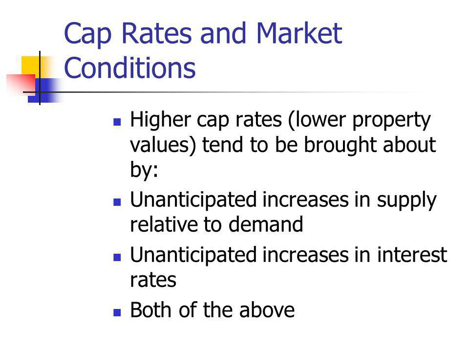 Cap Rates and Market Conditions Higher cap rates (lower property values) tend to be brought about by: Unanticipated increases in supply relative to de