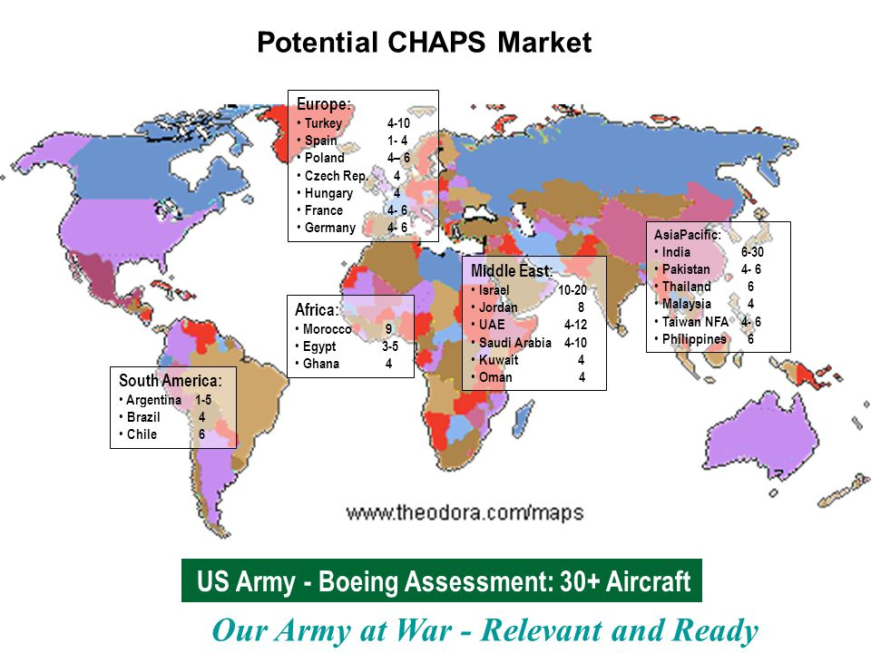 Our Army at War - Relevant and Ready Potential CHAPS Market US Army - Boeing Assessment: 30+ Aircraft Africa: Morocco 9 Egypt3-5 Ghana 4 Middle East: