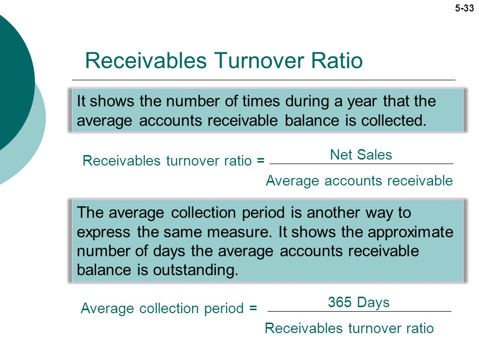 5-33 Receivables Turnover Ratio It shows the number of times during a year that the average accounts receivable balance is collected. Receivables turn