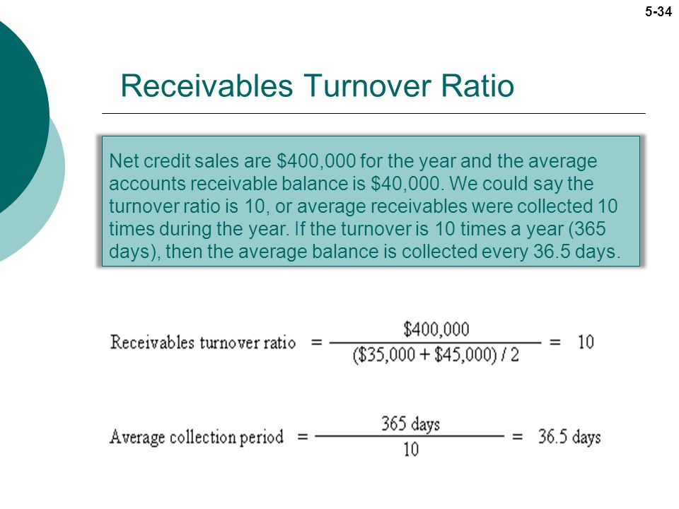 5-34 Net credit sales are $400,000 for the year and the average accounts receivable balance is $40,000. We could say the turnover ratio is 10, or aver